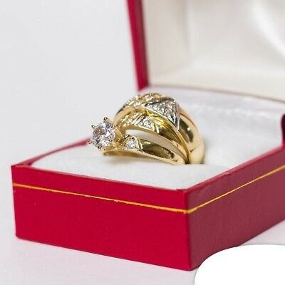 10K Yellow Gold Trio Diamond Engagement Ring Set His & Her Bridal Wedding Band