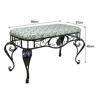 Indoor Outdoor Metal Frame Seat Bench Black Soft Top Home Seating Furniture