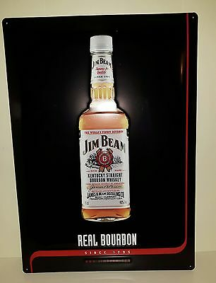 Jim Beam Blechschild mit Kentucky Straight Bourbon Whisky Flasche, 3D Optik, Neu