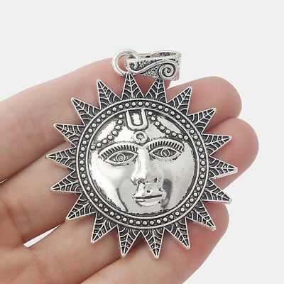5pcs Large Antique Silver Sun Face Charms Pendants for Jewelry Making Findings