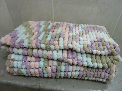 Handmade BABY BLANKET knitted in POM POM WOOL 70 x 70cm SOFT N COSY