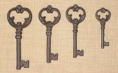 NEW~Set 4 Ornate Cast Iron Antique-Style Skeleton Keys Victorian Gothic