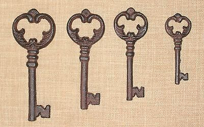 Set 4 Ornate Cast Iron Antique-Style Skeleton Keys Victorian Gothic
