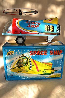 Vintage Friction Powered MTU Tin Toy Spaceship in original box