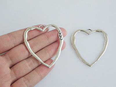 5pcs Antique Silver Large Open Heart Charms Pendants Jewellery Findings 52mm