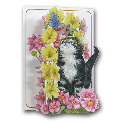 Pictoria Press 3D Pop Up Greeting Card Kitten Butterfly Cat Flowers Birthday