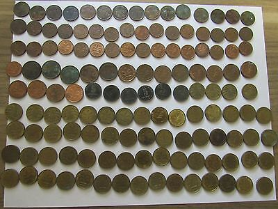 Lot of 205 Different Old Germany Coins - 1915 to 1993 - Circulated