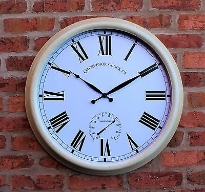 "Large Metal Outdoor Mains or Battery Garden Wall Clock Thermometer 24 "" cream"