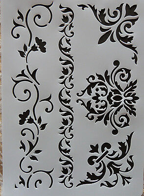 Plastic /PVC/Stencil/Multi/Floral/Corner/Border/Ornate/Vine/Design/Painting/Art