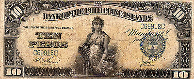 Philippines 1920 10 Pesos GARCIA & SENDRES P-14 Bank Of The Philippine Islands