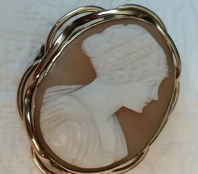 Antique  Victorian Shell Cameo Brooch Pendant Pin Large Antique Edwardian