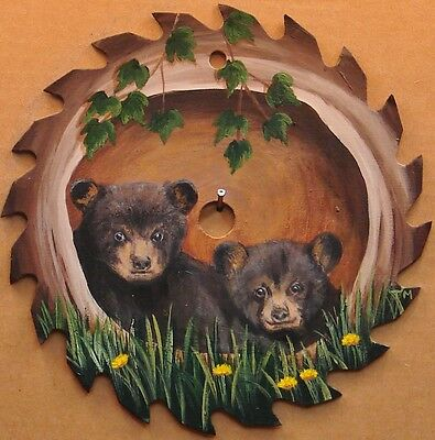 Hand Painted Saw Blade Black Bear Cubs in Log