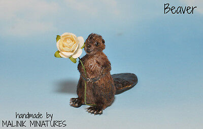 Dollhouse Miniature Realistic OOAK Beaver animal - Malinik Miniatures