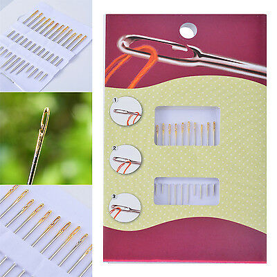 Newly 12PCS Thick Big Eye Sewing Self-Threading Needles Embroidery Hand Sewing