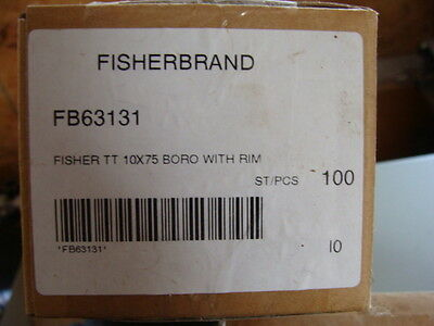 FISHER Borosilicate Glass Test Tubes-  10x75mm - Lot of 100 !!