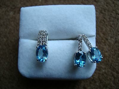 Swiss Blue and White Topaz Pendant and Earring Set