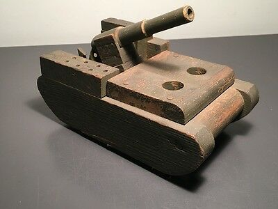 World War Ii Wood Tank With Firing Cannon ~ Home Front Toy!
