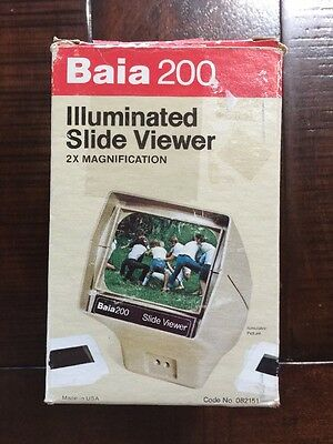 Vintage Baia 200 Illuminated Slide Viewer 2X Magnification Made In USA