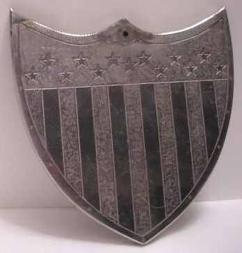 "Beautiful Antique Victorian Patriotic Shield 5"" Heavy Plated Brass 1880s-1900s"