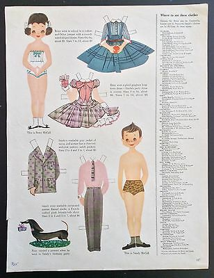 Vintage Betsy McCall Mag. Paper Dolls, Betsy McCall & Sandy, 1955