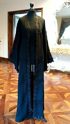 *LUXURY COLLECTION* Al Mazyoona Black Abaya Dubai Arabic Khaleeji Kaftan Maxi