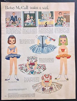 Vintage Betsy McCall Mag. Paper Dolls, Betsy McCall Makes a Wish, Nov. 1955