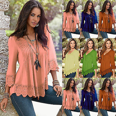 UK Womens Lace Long Sleeve V Neck T-Shirt Ladies Summer Casual Loose Tops Blouse
