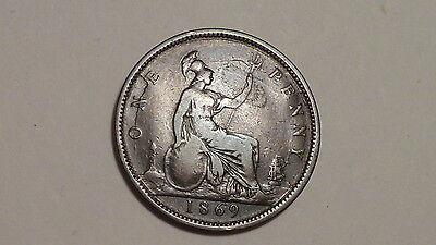 1869 Penny.Victoria.1837-1901.Bold Detail.Strong Date.British. Bun 1860-1894. VR