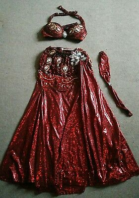 Red professional belly dance costume / bedlah