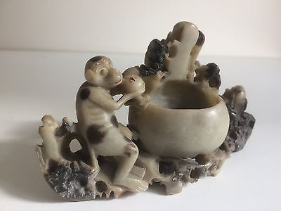 Antique Chinese Carved Figural Soapstone Brush Pot