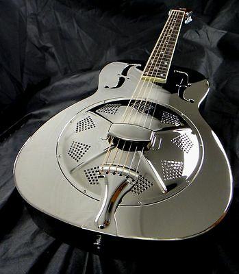 Duolian 'O' Style Resonator Resophonic Guitar - Nickel Plated Solid Brass Body