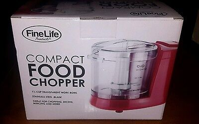 NEW FineLife Compact Food Chopper w/Stainless steel blade 1.5 Cup Bowl & Lid