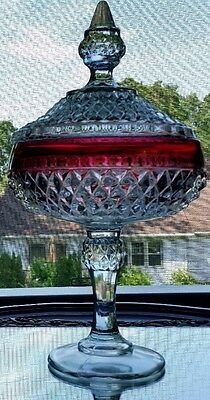 Vintage Indiana Glass Cranberry Flashed Diamond Point Covered Tall Compote