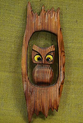 """Vintage Carved Wood Owl Sitting in Tree Wall Hanging Art Plaque 13"""" tall"""