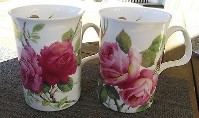 PAIR 1992 Roy Kirkham English Rose Coffee/TEA MUGS Eleanor pink fine bone china