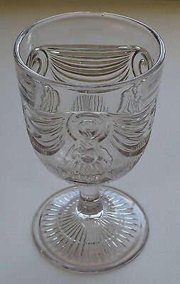 Extremely Rare Abraham Lincoln Drape With Tassel Pattern Glass Eapg Goblet