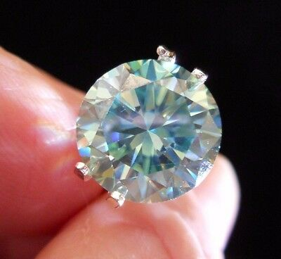 HYPNOTIC! 5.30 ct VVS1 11.35 mm FANCY BLUE PEACOCK LOOSE ROUND MOISSANITE