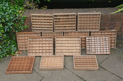 13x Vintage old wooden small printers draw drawer tray  - FREE POST