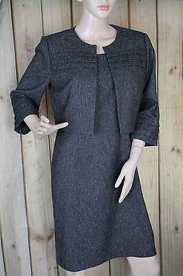 Jessica Howard Dress Suit Size 8P 2 Pcs Womens Brown Lined 3/4 Sleeve