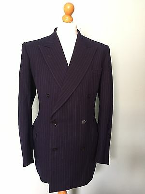 Vintage 1940's Cc41 Demob Double Breasted Blue Double Breasted Suit Size 44