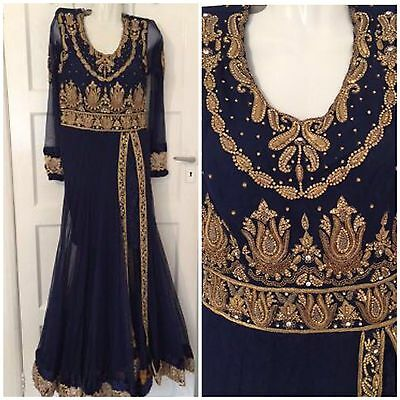 Gold & Navy Embroidered Dress Maxi Churidar Anarkali Bridal Sarees Asian Indian