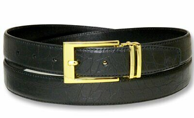 Croc Pattern Crocodile Embossed Belts Bonded Leather Men's Belt Gold-Tone Buckle