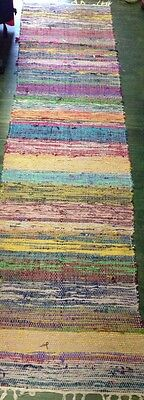 NEW 2X8 Pure Silk Rag Rug Runner Machine Washable Colorful NWT