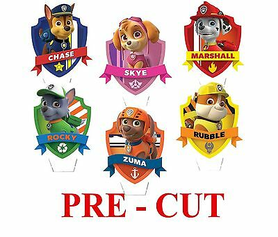 24 x PAW PATROL STAND UP Edible Rice/Wafer Cupcake CAKE toppers