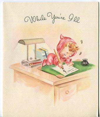 Vintage Pink Feet Pj's Cute Girl Writing Desk Inkwell Quill Pen Greeting Card