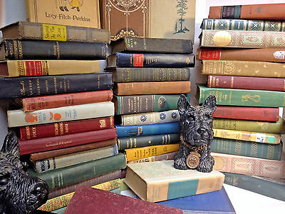 Lot of 10 ANTIQUE Old Books Collection Set UNSORTED MIXED all hardcover Decor