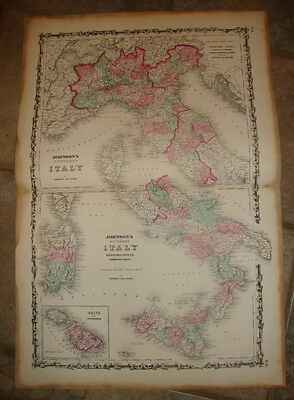 1863 ORIGINAL, ITALY, Hand Colored, large, Johnson antique map 26 1/2 by 18
