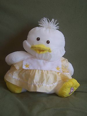 "1986 Fisher Price Puffalump Large Chick White and Yellow 15"" with Yellow Dress"