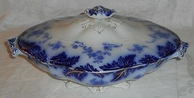 Great C.1890s Flow Blue & Gold Art Nouveau Brazil Covered Veggie Tureen Grindley