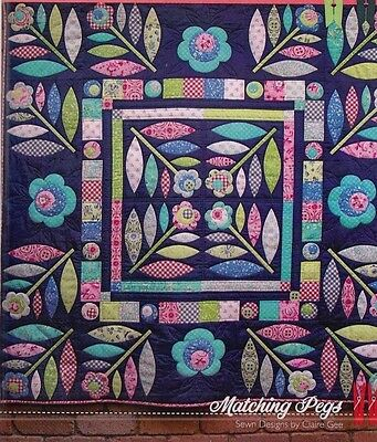 Folk Art Blooms - pretty pieced & applique quilt PATTERN - Matching Pegs
